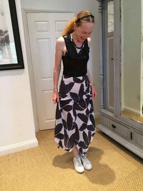 vintage Yohji Yamamoto dress, Stan Smith trainers, leather hairband, sequinned top