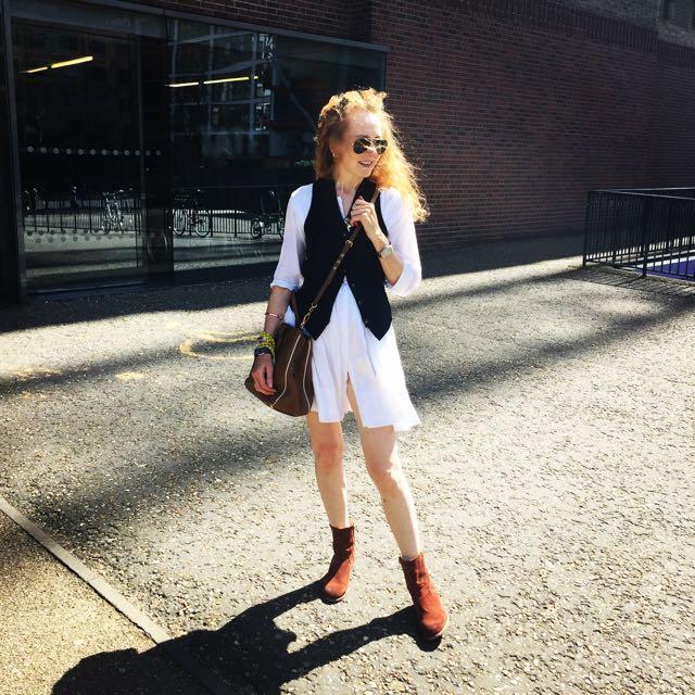 white dress, ray ban aviator,sunglasses, ankle boots, waistcoat