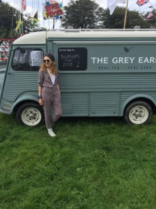 catering van, jumpsuit, sunglasses, beret,converse trainers,The Grey Earl