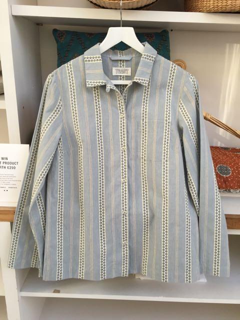 pyjamas, striped shirt, pale blue stripes