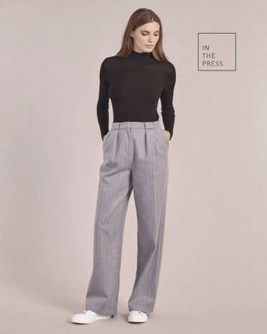 Roll Neck sweater, baggy trousers, Oxford Bags,