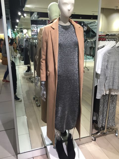 TOPSHOP, coat, Lurex, sheath dress, Lurex dress, Camel coat, mid calf length