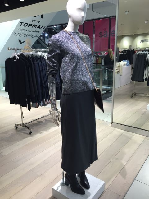 Lurex, Lurex jumper, long black skirt, black evening skirt, long sleeved jumper