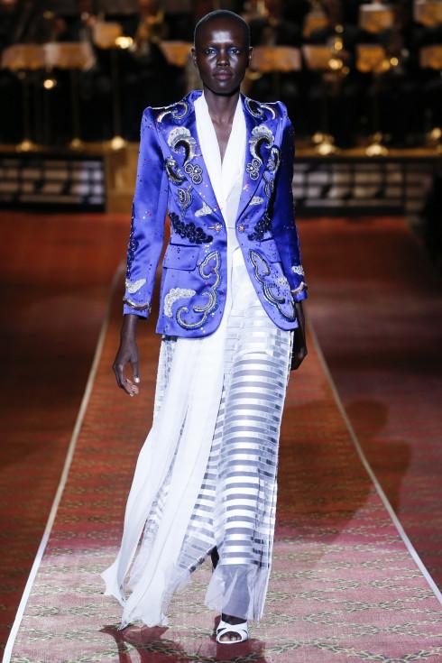 satin jacket, transparent dress, coloured model, evening wear , Vanessa Voegele-Downing, themodeledit.com