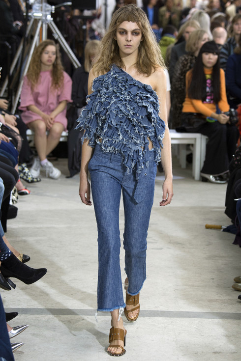 Marques Ameida, frayed denim, off the shoulder, Jeans, flared Jeans, denim, Portuguese designers