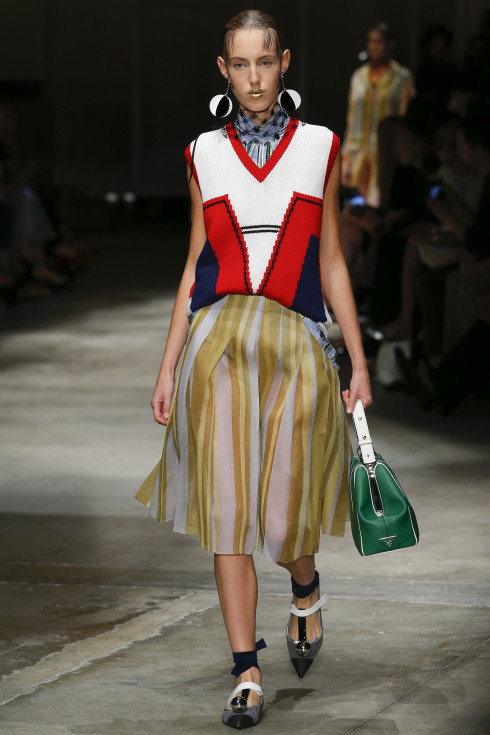 Prada, Spring Summer 2016 Ready To Wear Women's collection, themodeledit, stripes , geometric, knitwear