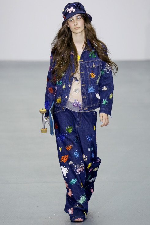 denim, Marc Jacobs, embroidered denim, trouser suit, denim jacket, Jeans, American Fashion Designer