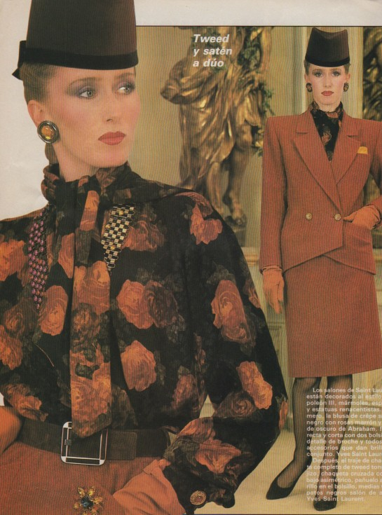 YSL, Yves Saint Laurent, haute couture, pret a porter, french designer, floral blouse, designer earrings, hat, tailored woman's suit