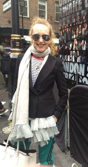 Vanessa Voegele-Downing, www.themodeledit.com, Mrs V, London Fashion Week, Brewer Street Car Park Show Space, Adidas tracksuit, Prada bag, Ray Ban Aviator sunglasses