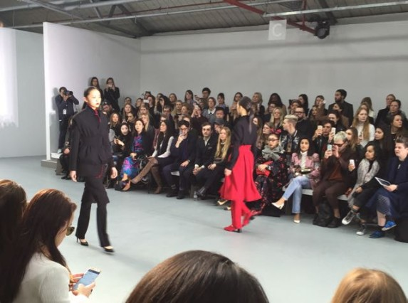 J.JS Lee, press show, London Fashion Week, models, catwalk, high heels, trousers, audience, photographers, paparazzi