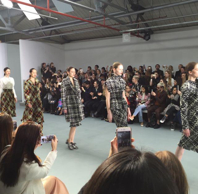 J.JS Lee, press show, London Fashion Week, catwalk, audience, fashion editors, paparazzi, models, clothes