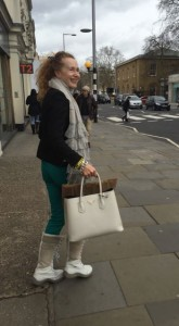 Kings Road London, London Fashion Week, Adidas sweatpants, Prada bag, Ray Ban Aviator Sunglasses, Ugg boots