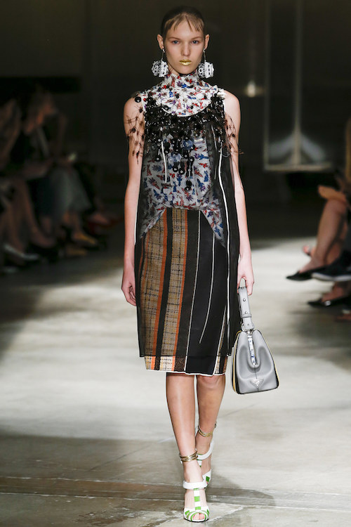 Prada, pom poms, earrings, stripes, Model, Press Show, catwalk, Prada bag, handbag, www.themodeledit.com, Vanessa Voegele-Downing, Mrs V