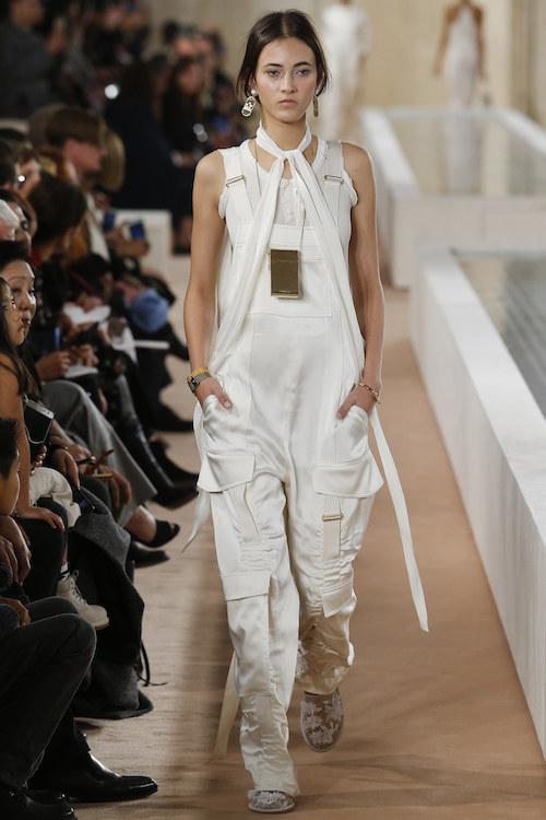 Balenciaga, dungarees, white satin, white satin dungarees,