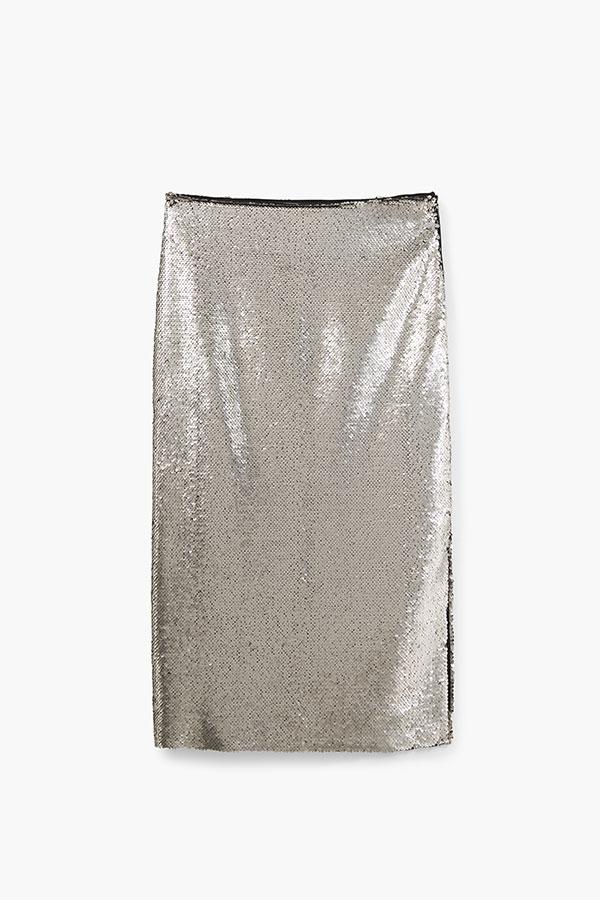 Metallics by Mango, silver sequinned skirt, silver pencil skirt