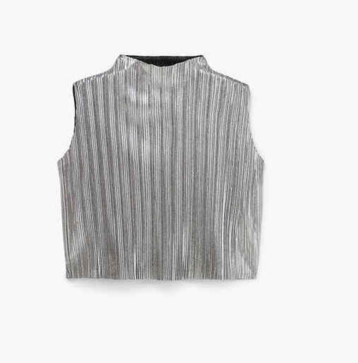 metallic, Mango, short sleeved top, silver t shirt, round necked, pleated fabric