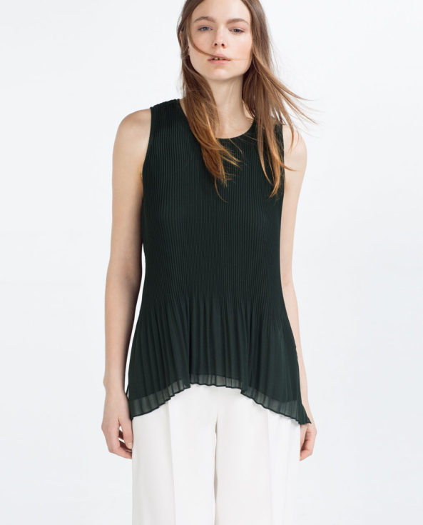 Zara Asymmetric Pleated Top, black short sleeved top
