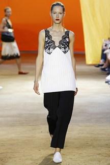Celine S/S 2016, white satin/silk, black lace, wide legged trousers, camisole top