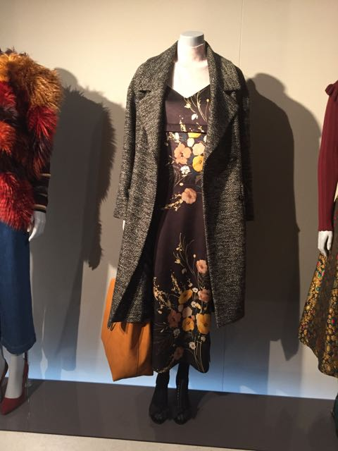 M&S A/W 2016/17, long wool overcoat, women's wool overcoat, midi boho dress, floral middi dress, leather shoulder bag, women's leather handbag, deconstructed large leather handbag, opaque tights, peep toed shoes, tweed coat, women's tweed winter coat