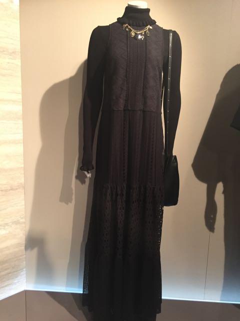 M&S A/W 2016/17, long black sleeveless evening dress, roll neck jumper, polo neck black jumper, evening shoulder bag