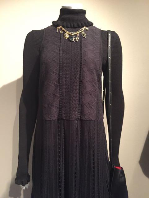 M&S A/W 2016/17, evening gown, women's black roll neck jumper, shoulder bag, black evening bag