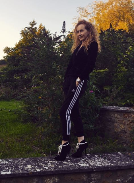 Adidas track pants, Adidas, Tuxedo jacket, Tuxedo, Athleisure, high heel ankle boots, black ankle boots