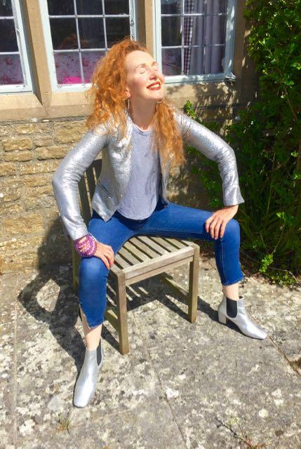 Mango, Mango silver sequinned jacket, zipped sleeve jacket, Toyshop silver ankle boots, Zara skinny jeans