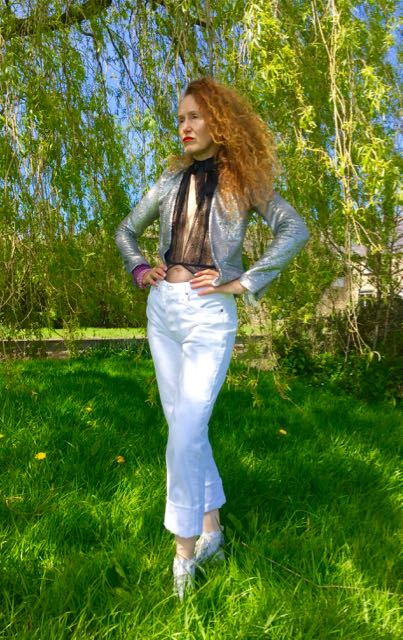 Mango Fashion, Mango, sequinned jacket, silver jacket, sequinned jacket, zipped sleeves, white Levis, black lacy bodysuit, lacy underwear H&M, H&M lingerie, white Converse boots, Chuck Norris