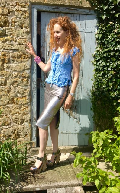 Whistles, peasant blouse, silver sequinned skirt, Mango metallics