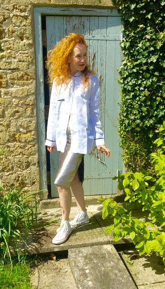 Silver sequinned skirt, Mango metallics, pencil skirt, side split, white linen pyjama top, White shirt with navy piping, Converse All Stars