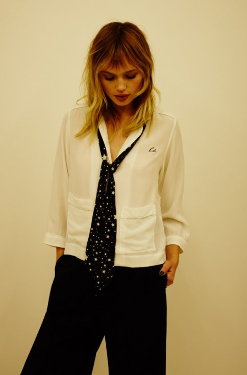 Kate Moss, Kate Moss Equipment Collaboration, silk shirt, ivory silk shirt, pyjama style silk shirt, evening silk shirt, MrsV, www,themodeledit.com, Vanessa Voegele-Downing