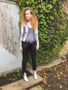 Mango metallic Jacket, All Saints leather trousers, Toyshop Silver ankle boots, Brandy Melville t shirt