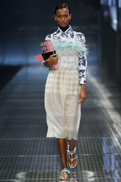 Prada SS2017, pinafore dress, feather trim, clutch bag, transparent clothing