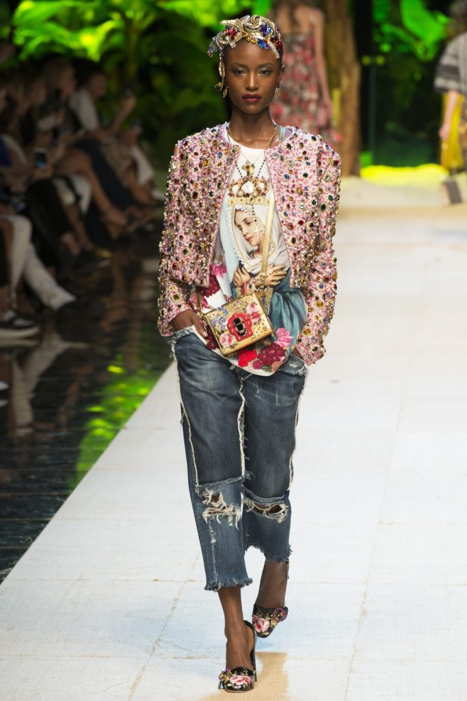 Dolce and Gabbana SS17, D&G, jeans, embroidered jacket, graphic t, catwalk, Press Show, Mrs V, @themodeledit, Vanessa Voegele-Downing, www.themodeledit.com