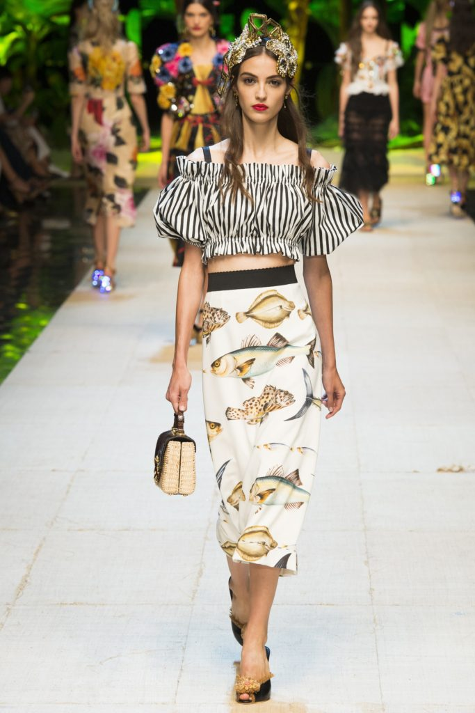 Dolce and Gabbana SS17, Press Show, fish print pencil skirt, off the shoulder blouse