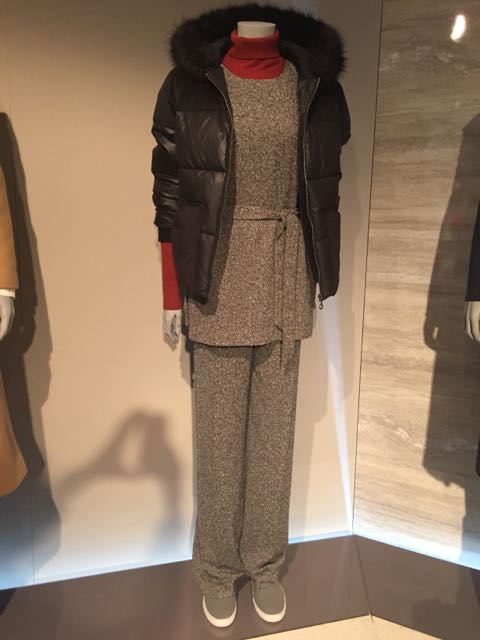 M&S A/W 2016, marled wool tunic and trousers, trouser suit, Down jacket, Puffa jacket, trainers