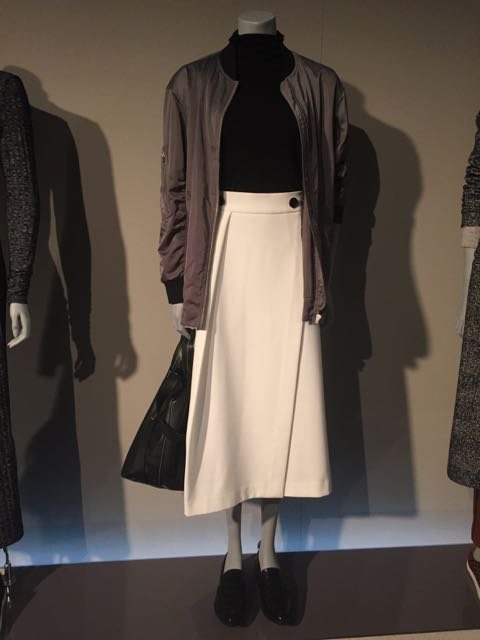 M&S, M&S A/W 2016, silk bomber jacket, asymmetric midi skirt, roll neck jumper, Mrs V, www.themodeledit.com, Vanessa Voegele-Downing , LEATHER HANDBAG