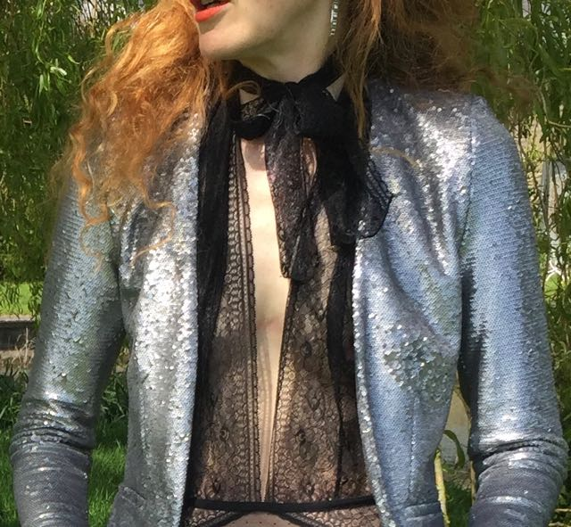 H&M lingerie, black lace body, sequinned jacket, Mango silver sequinned jacket, orange lipstick, red hair
