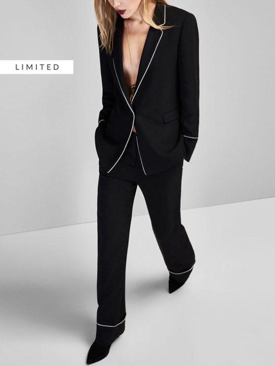 Massimo Dutti, Massimo Dutti piped trouser suit, woman, fashion, clothes