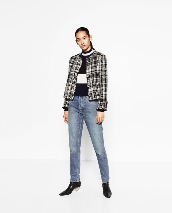 Mango, Mango women's fashion, tweed jacket, jeans, knitwear, Mrs V, www.themodeledit.com