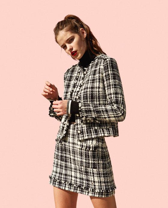 Zara, Zara tweed skirt suit, Chanel style, women's fashion, skirt, jacket