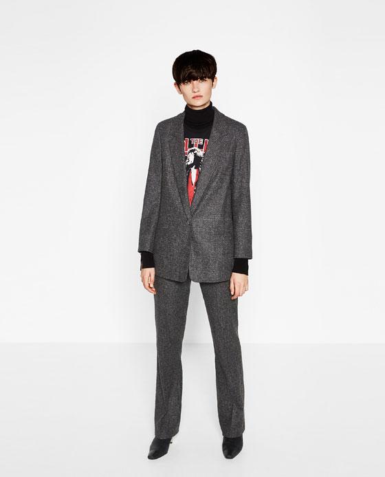 Zara, Zara women, Zara women's trouser suit, tweed trouser suit