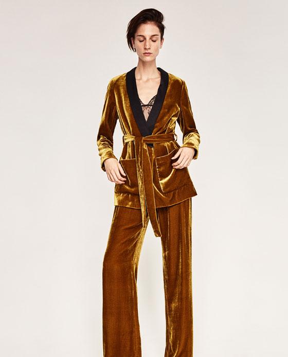 Zara, Zara crushed velvet trouser suit, lounge suit, gold trouser suit, tie waist velvet smoking suit