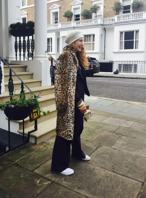 Carine Roitfeld Uniqlo collaboration Leopard print faux fur coat
