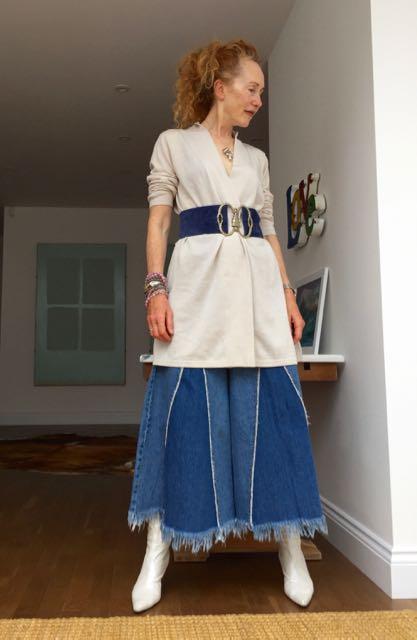Kettlewell boyfriend Cardigan, Kettlewell colours, merino wool, wooden jacket, Zara denim culottes, Rapson De Pauley handmade suede belt