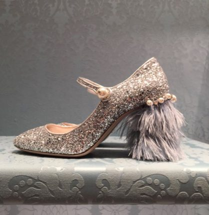 Miu Miu Shoes, Miu Miu feather heeled Mary Janes, diamante shoes, evening shoes, Miu Miu evening shoes, Miu Miu shoes S/S 2017
