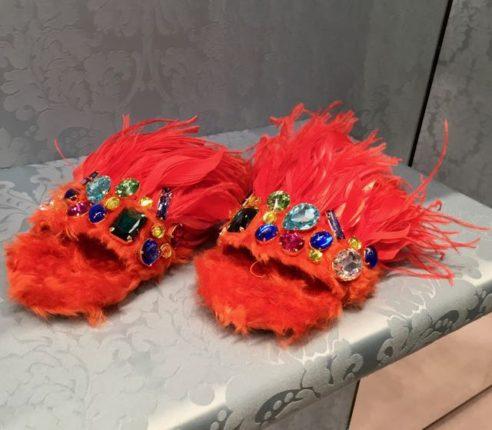 Miu Miu feathery slides, flip flops, shoes, Miu Miu, Mrs V, www.themodeledit.com