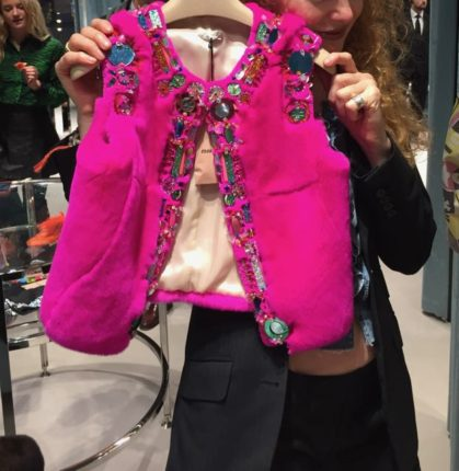 Miu Miu fuchsia faux fur bolero, Miu Miu jewelled faux fur bolero S/S 2017