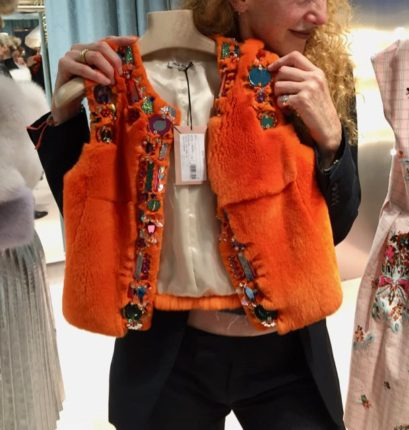 Miu Miu faux fur bolero, Miu Miu orange faux fur bolero, faux fur, Miu Miu jewelled faux fur bolero S/S 2017