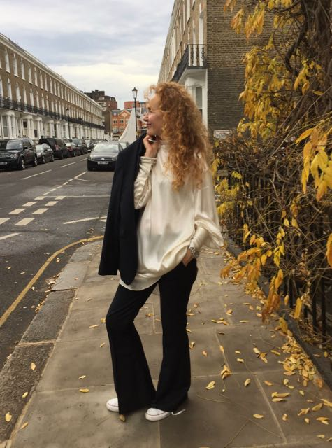 H&M A/W 2017, H&M satin tunic, white Converse trainers, navy blue tailored trousers, pinstriped trousers